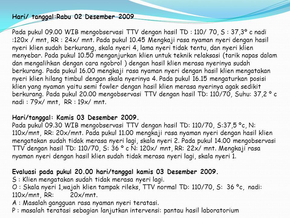 Hari/ tanggal:Rabu 02 Desember 2009 Pada pukul 09.00 WIB mengobservasi TTV dengan hasil TD : 110/ 70, S : 37,3º c nadi :120x / mnt, RR : 24x/ mnt. Pad