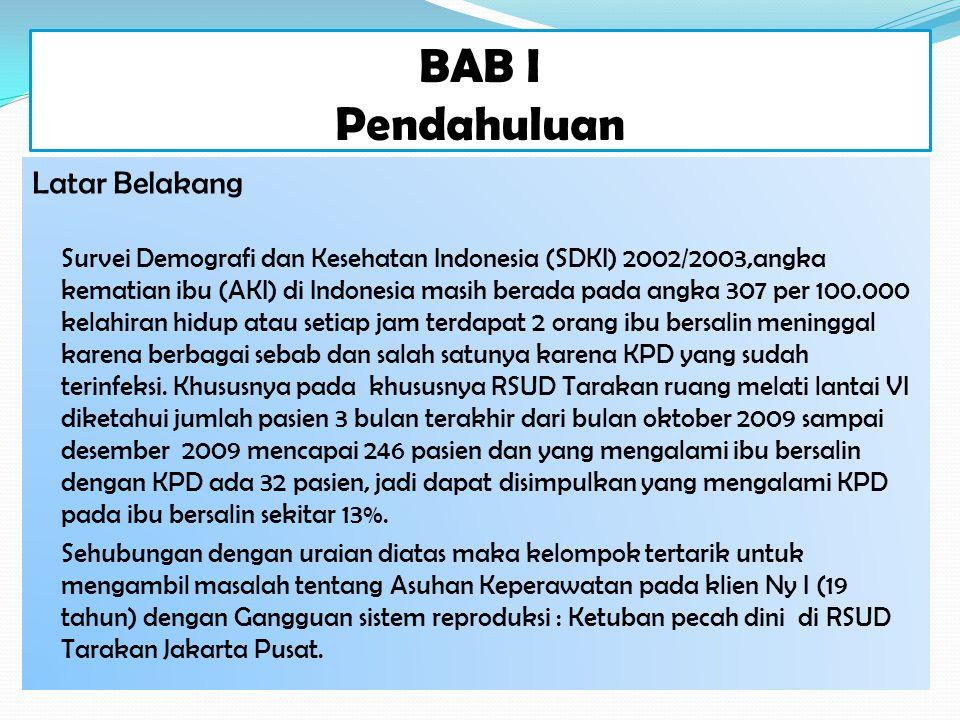 BAB I Pendahuluan Latar Belakang Survei Demografi dan Kesehatan Indonesia (SDKI) 2002/2003,angka kematian ibu (AKI) di Indonesia masih berada pada ang