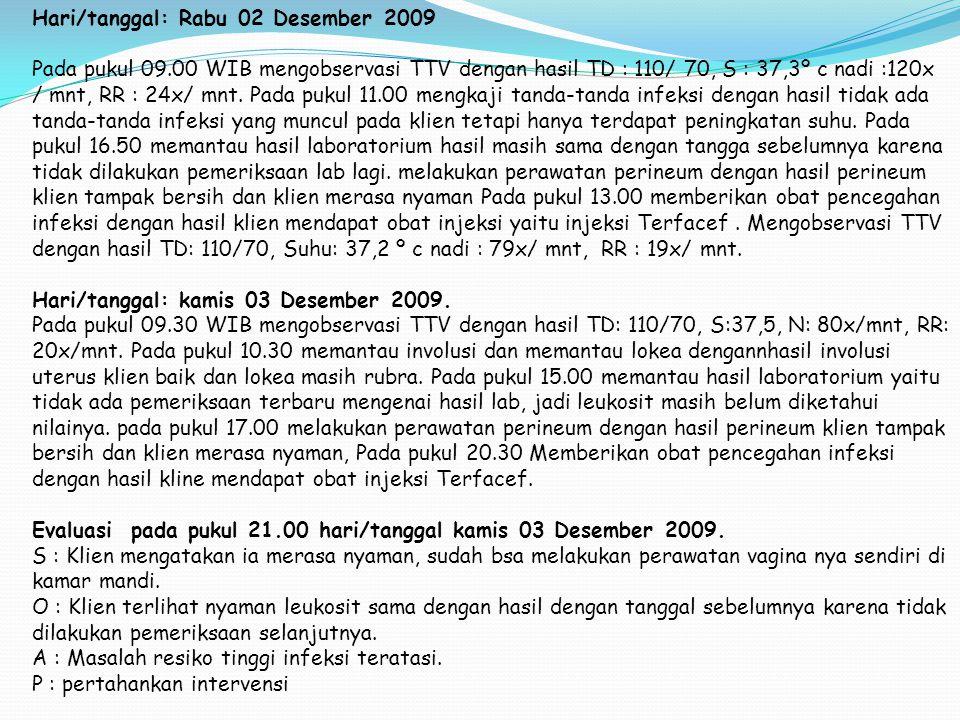 Hari/tanggal: Rabu 02 Desember 2009 Pada pukul 09.00 WIB mengobservasi TTV dengan hasil TD : 110/ 70, S : 37,3º c nadi :120x / mnt, RR : 24x/ mnt. Pad