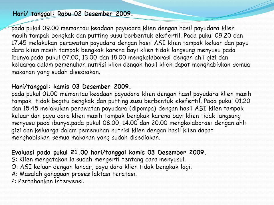 Hari/ tanggal: Rabu 02 Desember 2009. pada pukul 09.00 memantau keadaan payudara klien dengan hasil payudara klien masih tampak bengkak dan putting su