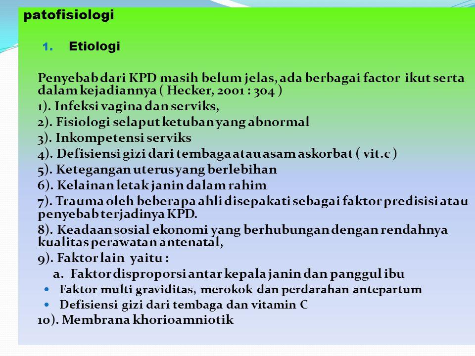 patofisiologi 1. Etiologi Penyebab dari KPD masih belum jelas, ada berbagai factor ikut serta dalam kejadiannya ( Hecker, 2001 : 304 ) 1). Infeksi vag