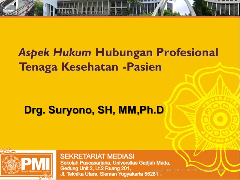 Aspek Hukum Hubungan Profesional Tenaga Kesehatan -Pasien Drg.