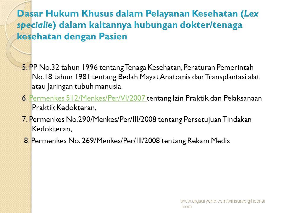 5. PP No.32 tahun 1996 tentang Tenaga Kesehatan, Peraturan Pemerintah No.18 tahun 1981 tentang Bedah Mayat Anatomis dan Transplantasi alat atau Jaring