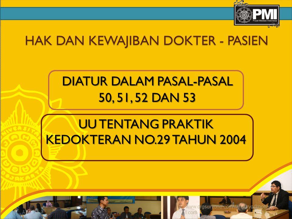 HAK DAN KEWAJIBAN DOKTER - PASIEN DIATUR DALAM PASAL-PASAL 50, 51, 52 DAN 53 UU TENTANG PRAKTIK KEDOKTERAN NO.29 TAHUN 2004 www.drgsuryono.com/winsuryo@hotmai l.com