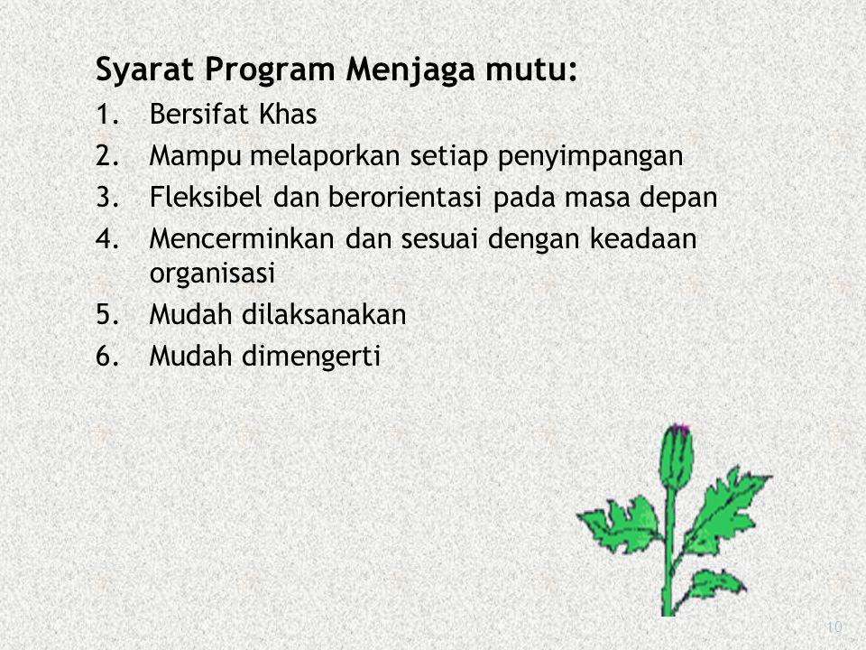 Program menjaga mutu adalah suatu upaya yang dilaksanakan secara berkesinambungan, sistematis, objektif dan terpadu dalam menetapkan masalah dan penye