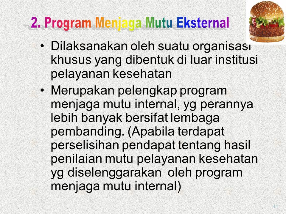 Program Menjaga Mutu dilaksanakan oleh suatu organisasi yang dibentuk di dalam institusi kesehatan yang menyelenggarakan pelayanan kesehatan Sebaiknya