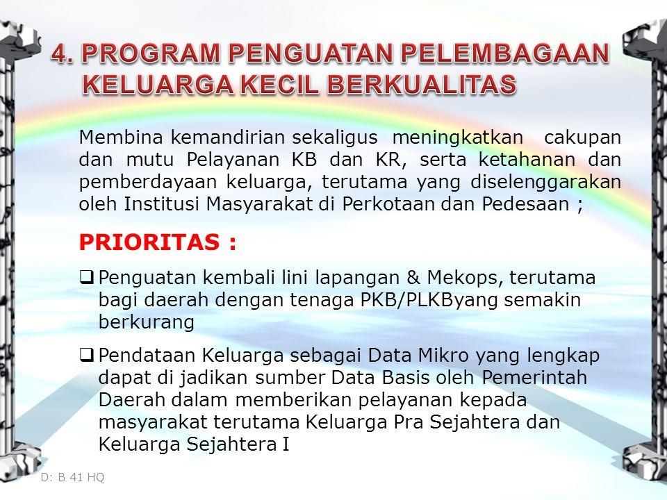 Membina kemandirian sekaligus meningkatkan cakupan dan mutu Pelayanan KB dan KR, serta ketahanan dan pemberdayaan keluarga, terutama yang diselenggarakan oleh Institusi Masyarakat di Perkotaan dan Pedesaan ; PRIORITAS :  Penguatan kembali lini lapangan & Mekops, terutama bagi daerah dengan tenaga PKB/PLKByang semakin berkurang  Pendataan Keluarga sebagai Data Mikro yang lengkap dapat di jadikan sumber Data Basis oleh Pemerintah Daerah dalam memberikan pelayanan kepada masyarakat terutama Keluarga Pra Sejahtera dan Keluarga Sejahtera I D: B 41 HQ