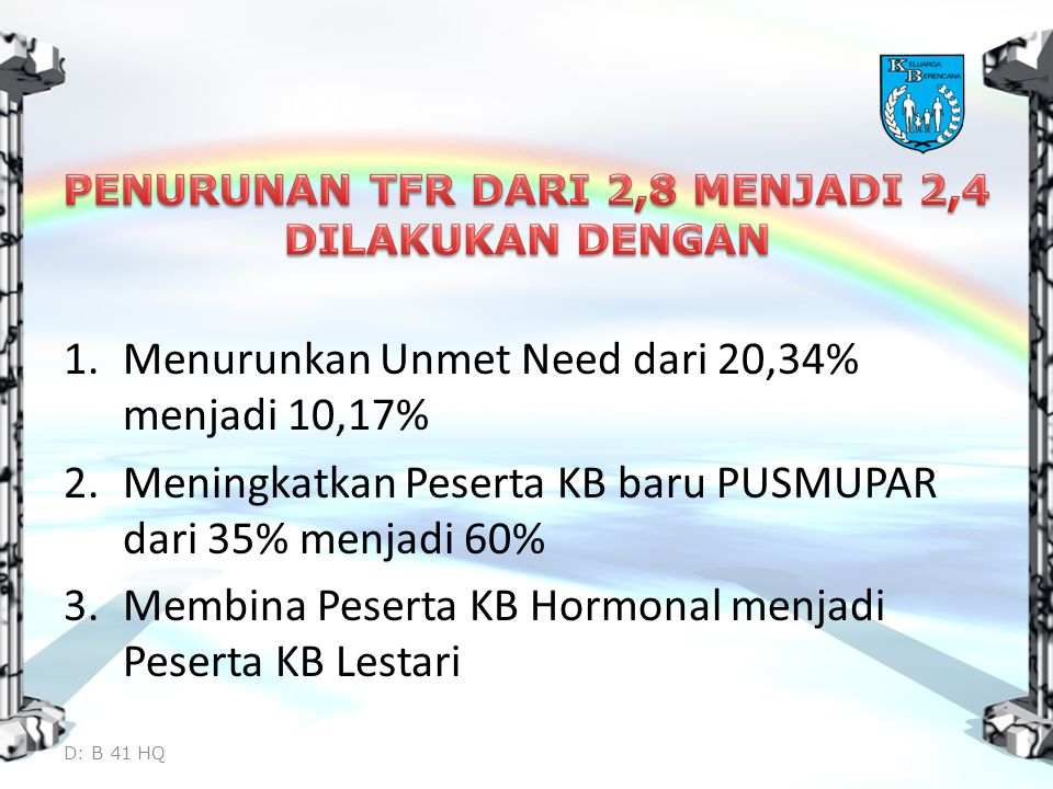 1.Menurunkan Unmet Need dari 20,34% menjadi 10,17% 2.Meningkatkan Peserta KB baru PUSMUPAR dari 35% menjadi 60% 3.Membina Peserta KB Hormonal menjadi Peserta KB Lestari D: B 41 HQ
