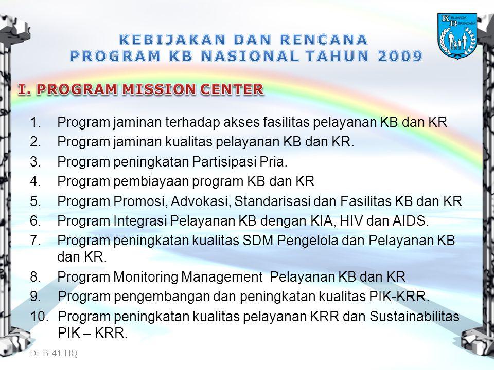 1.Program jaminan terhadap akses fasilitas pelayanan KB dan KR 2.Program jaminan kualitas pelayanan KB dan KR. 3.Program peningkatan Partisipasi Pria.