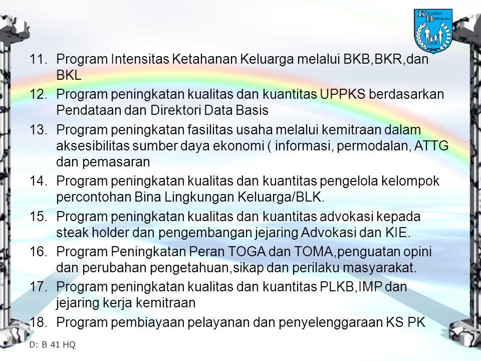 11.Program Intensitas Ketahanan Keluarga melalui BKB,BKR,dan BKL 12.Program peningkatan kualitas dan kuantitas UPPKS berdasarkan Pendataan dan Direkto