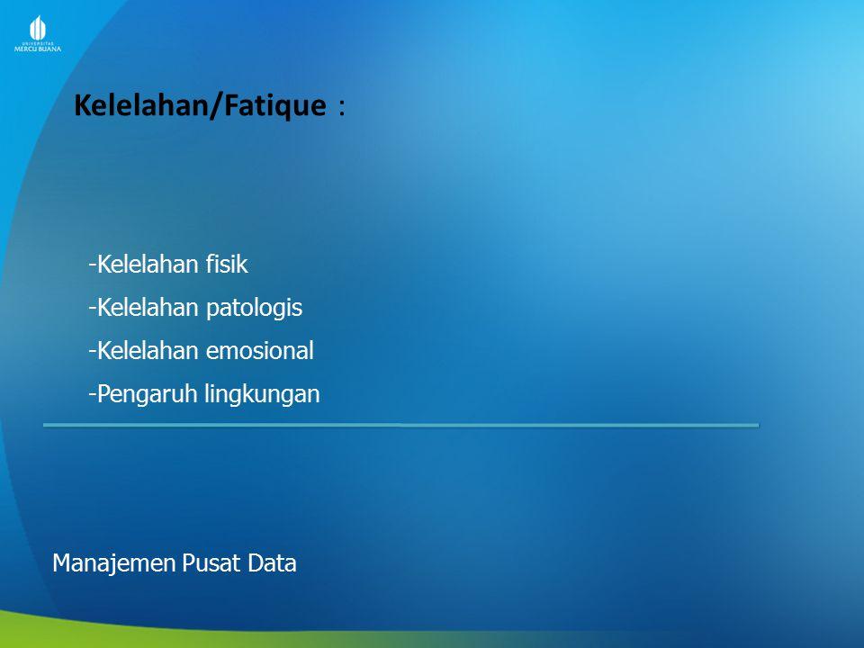 Kelelahan/Fatique : Manajemen Pusat Data -Kelelahan fisik -Kelelahan patologis -Kelelahan emosional -Pengaruh lingkungan