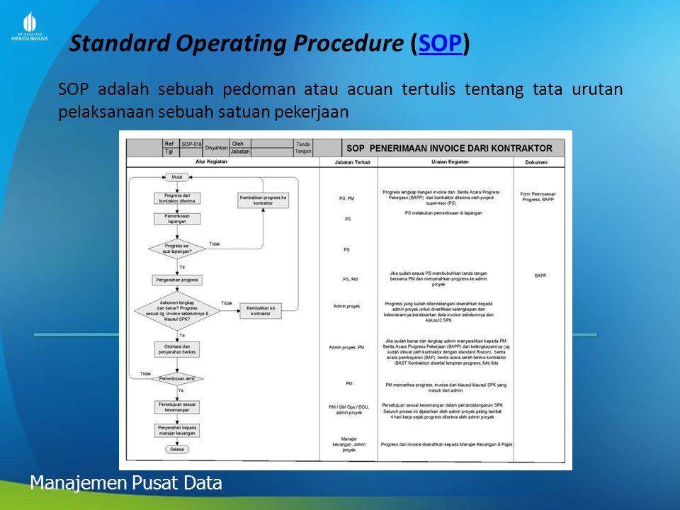 Standard Operating Procedure (SOP)SOP Manajemen Pusat Data SOP adalah sebuah pedoman atau acuan tertulis tentang tata urutan pelaksanaan sebuah satuan