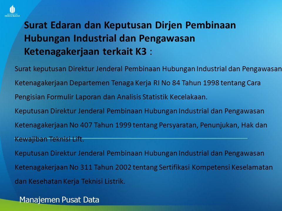Surat Edaran dan Keputusan Dirjen Pembinaan Hubungan Industrial dan Pengawasan Ketenagakerjaan terkait K3 : Manajemen Pusat Data Surat keputusan Direk