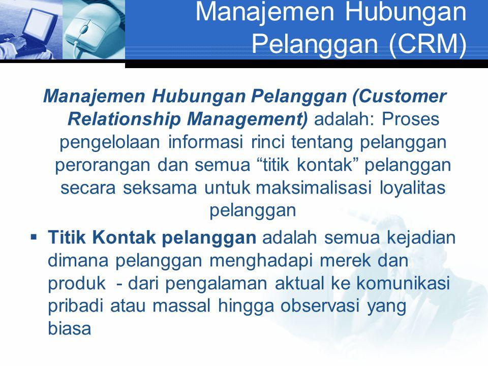 Manajemen Hubungan Pelanggan (CRM) Manajemen Hubungan Pelanggan (Customer Relationship Management) adalah: Proses pengelolaan informasi rinci tentang