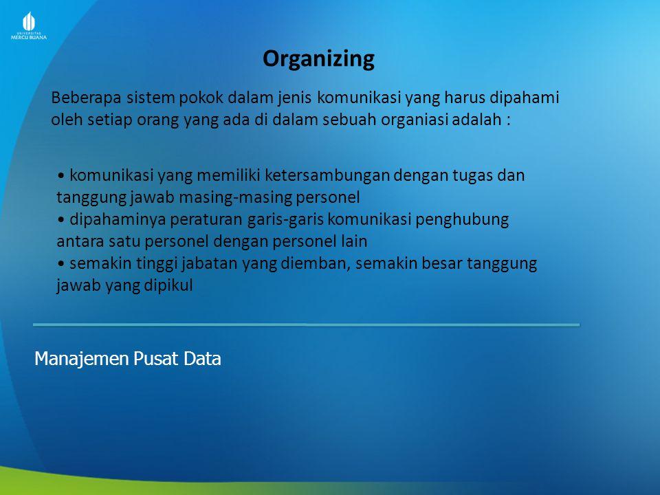Organizing Manajemen Pusat Data Beberapa sistem pokok dalam jenis komunikasi yang harus dipahami oleh setiap orang yang ada di dalam sebuah organiasi