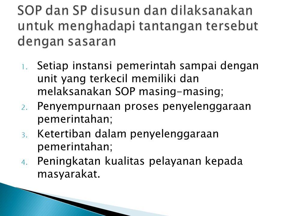 1. Setiap instansi pemerintah sampai dengan unit yang terkecil memiliki dan melaksanakan SOP masing-masing; 2. Penyempurnaan proses penyelenggaraan pe