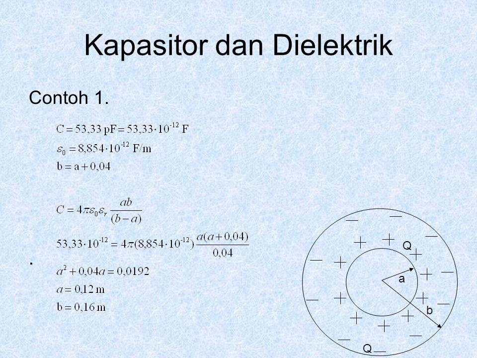 Kapasitor dan Dielektrik Contoh 1.. Q a Q b