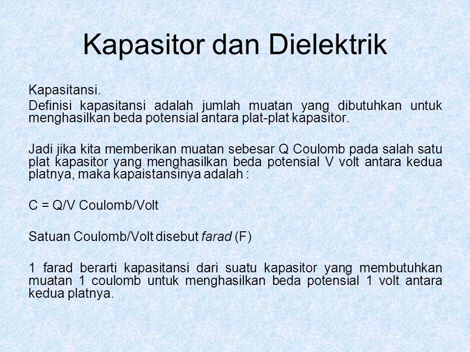 Kapasitor dan Dielektrik Kapasitansi. Definisi kapasitansi adalah jumlah muatan yang dibutuhkan untuk menghasilkan beda potensial antara plat-plat kap