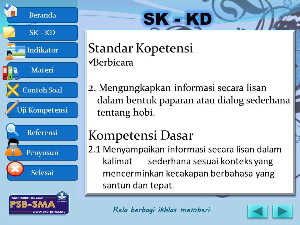 Uji Kompetensi Referensi Penyusun Selesai Contoh Soal Beranda SK - KD Indikator Materi Standar Kopetensi Berbicara 2. Mengungkapkan informasi secara l