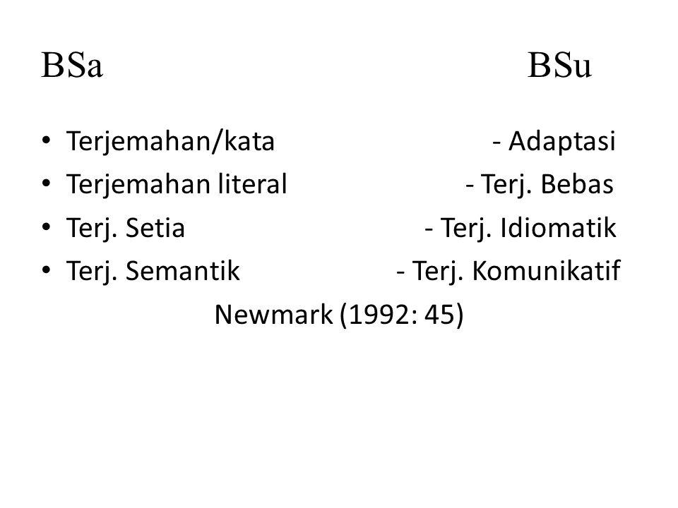 BSa BSu Terjemahan/kata - Adaptasi Terjemahan literal - Terj. Bebas Terj. Setia - Terj. Idiomatik Terj. Semantik - Terj. Komunikatif Newmark (1992: 45