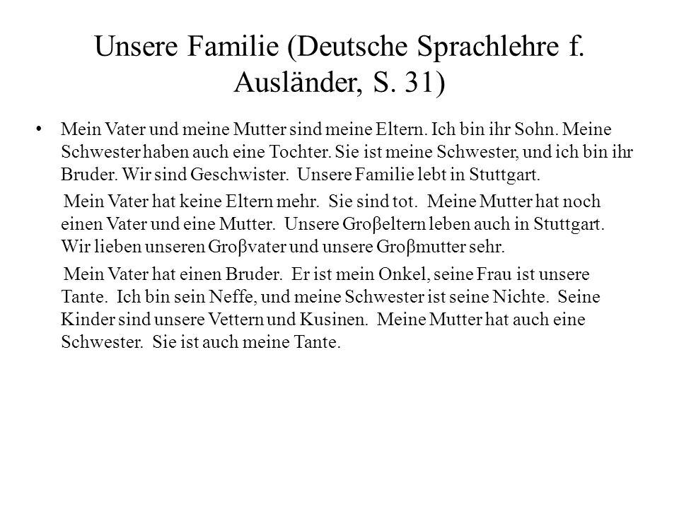 Unsere Familie (Deutsche Sprachlehre f. Ausl ӓ nder, S. 31) Mein Vater und meine Mutter sind meine Eltern. Ich bin ihr Sohn. Meine Schwester haben auc