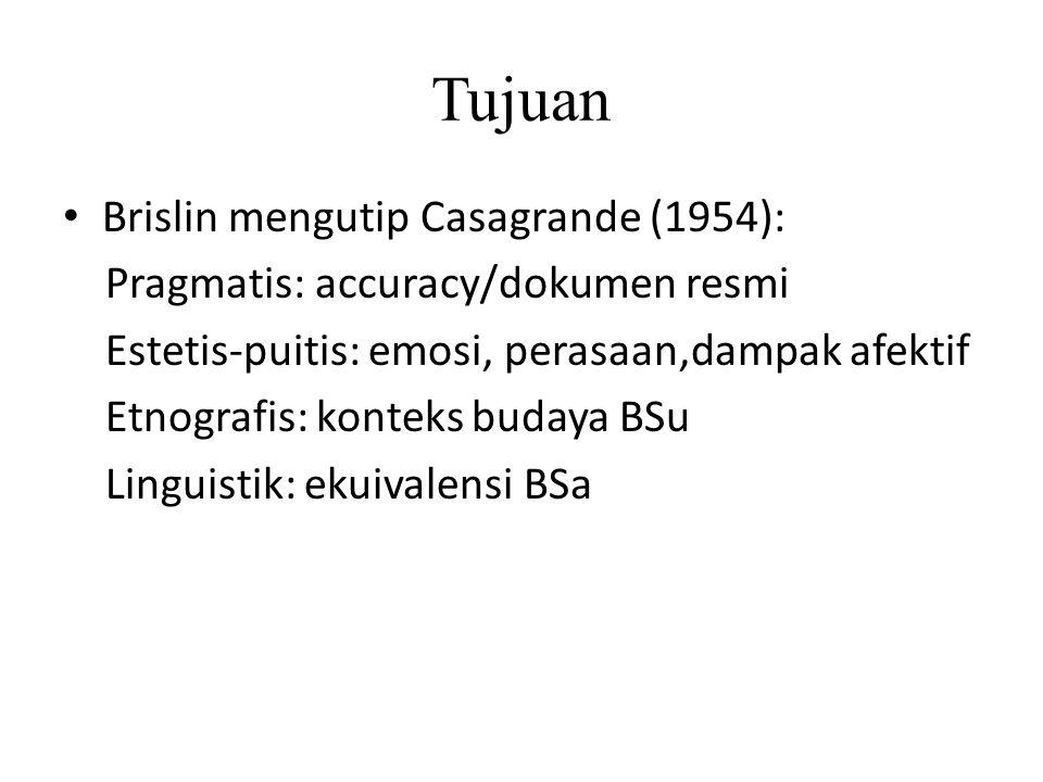 Tujuan Brislin mengutip Casagrande (1954): Pragmatis: accuracy/dokumen resmi Estetis-puitis: emosi, perasaan,dampak afektif Etnografis: konteks budaya