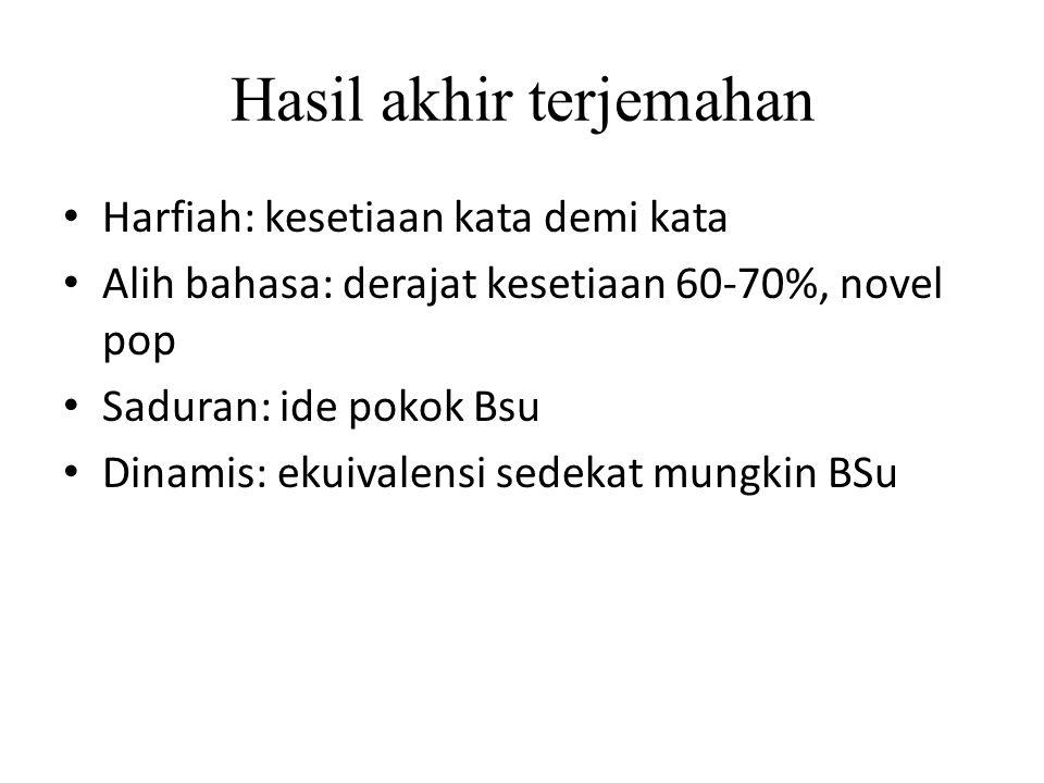 Hasil akhir terjemahan Harfiah: kesetiaan kata demi kata Alih bahasa: derajat kesetiaan 60-70%, novel pop Saduran: ide pokok Bsu Dinamis: ekuivalensi