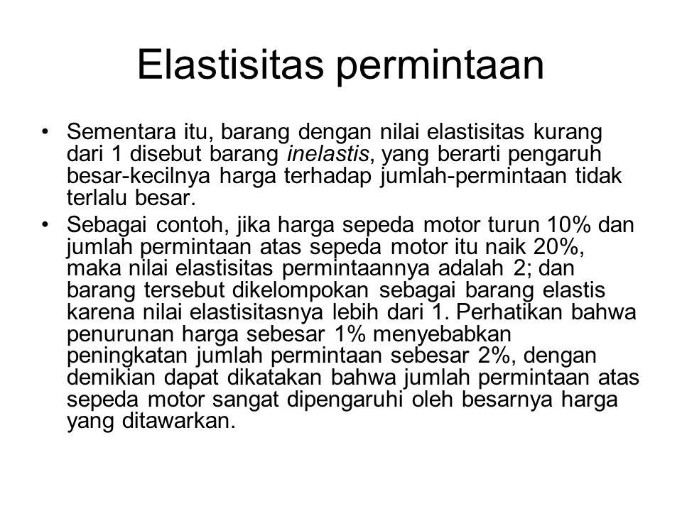 Elastisitas permintaan Sementara itu, barang dengan nilai elastisitas kurang dari 1 disebut barang inelastis, yang berarti pengaruh besar-kecilnya har