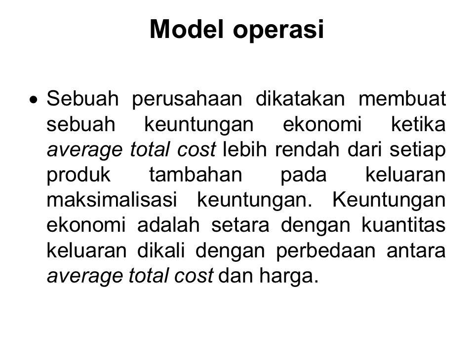 Model operasi  Sebuah perusahaan dikatakan membuat sebuah keuntungan ekonomi ketika average total cost lebih rendah dari setiap produk tambahan pada