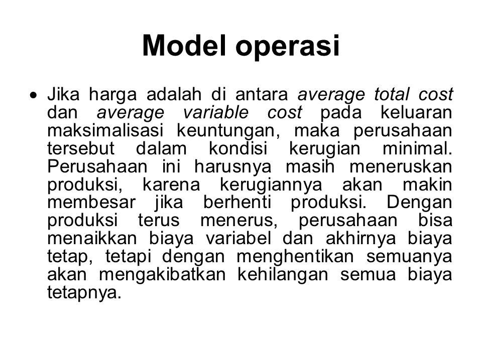 Model operasi Jika harga dibawah average variable cost pada maksimalisasi keuntungan, perusahaan harus melakukan penghentian.