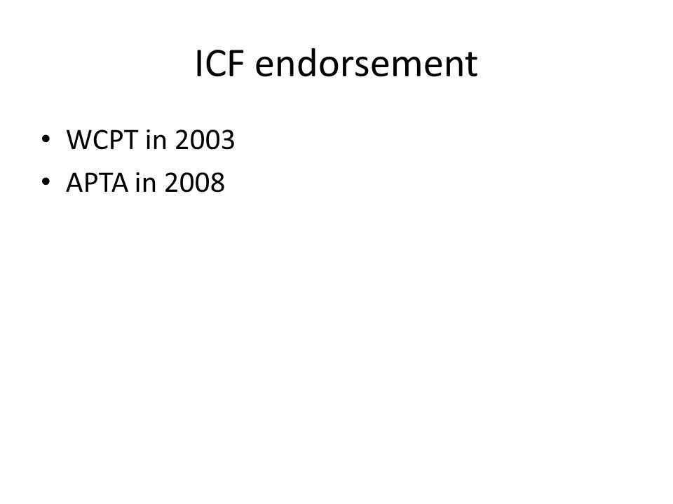 ICF endorsement WCPT in 2003 APTA in 2008