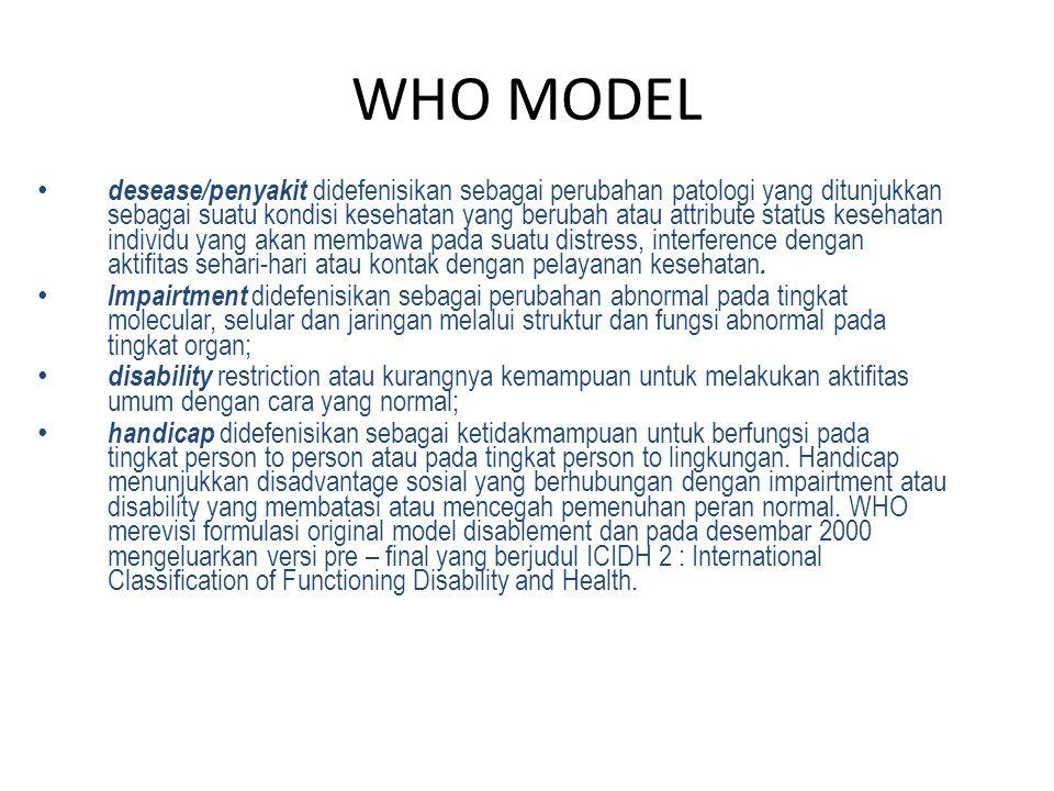 WHO MODEL desease/penyakit didefenisikan sebagai perubahan patologi yang ditunjukkan sebagai suatu kondisi kesehatan yang berubah atau attribute statu