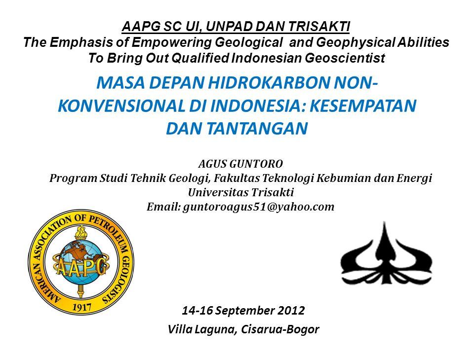 MASA DEPAN HIDROKARBON NON- KONVENSIONAL DI INDONESIA: KESEMPATAN DAN TANTANGAN 14-16 September 2012 Villa Laguna, Cisarua-Bogor AAPG SC UI, UNPAD DAN