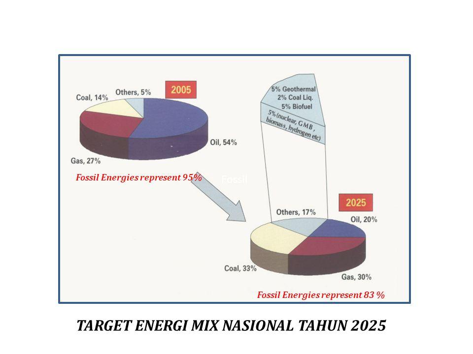 TARGET ENERGI MIX NASIONAL TAHUN 2025 Fossil Fossil Energies represent 95% Fossil Energies represent 83 %