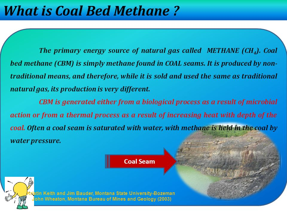 What is Coal Bed Methane .The primary energy source of natural gas called METHANE (CH 4 ).
