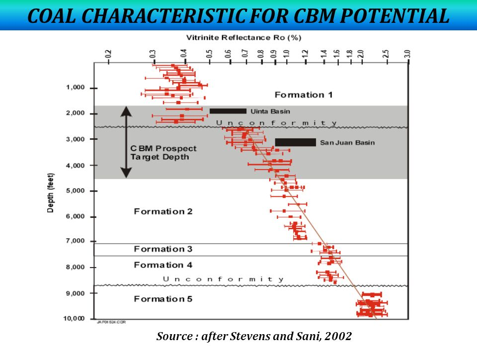 COAL CHARACTERISTIC FOR CBM POTENTIAL Source : after Stevens and Sani, 2002