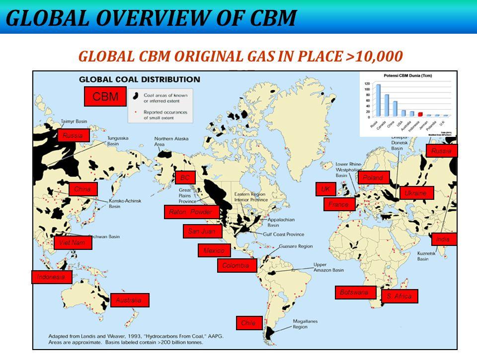 GLOBAL OVERVIEW OF CBM GLOBAL CBM ORIGINAL GAS IN PLACE >10,000 TCF San Juan Raton, Powder BC Mexico Colombia Chile UK France Poland Ukraine Botswana