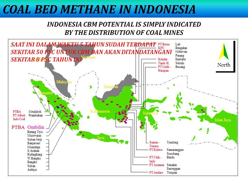 INDONESIA CBM POTENTIAL IS SIMPLY INDICATED BY THE DISTRIBUTION OF COAL MINES SAAT INI DALAM WAKTU 5 TAHUN SUDAH TERDAPAT SEKITAR 50 PSC UNTUK CBM DAN