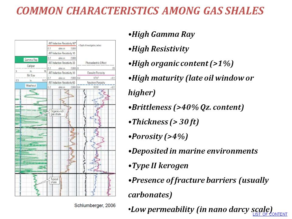 COMMON CHARACTERISTICS AMONG GAS SHALES High Gamma Ray High Resistivity High organic content (>1%) High maturity (late oil window or higher) Brittlene