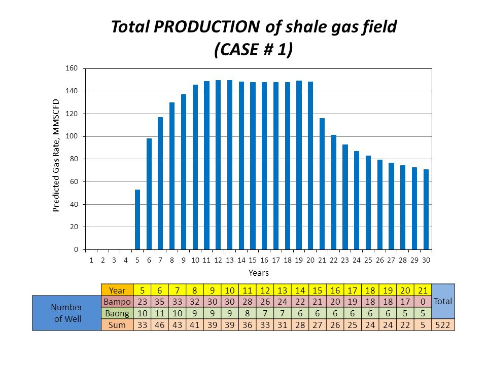 Total PRODUCTION of shale gas field (CASE # 1) Year56789101112131415161718192021 Total Number of Well Bampo2335333230 2826242221201918 170 Baong101110