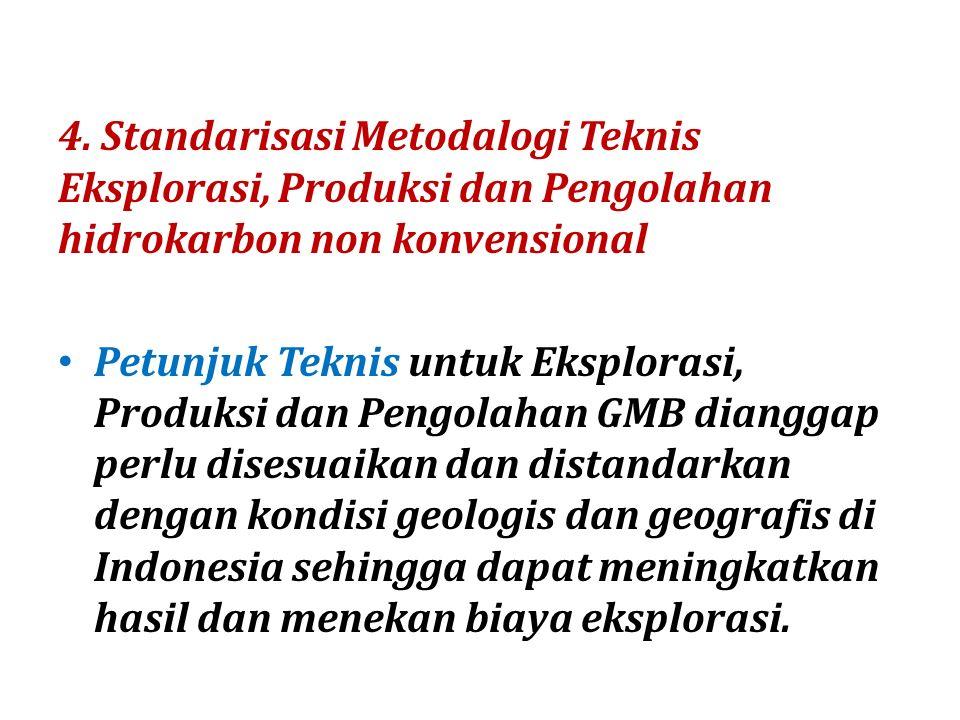 4. Standarisasi Metodalogi Teknis Eksplorasi, Produksi dan Pengolahan hidrokarbon non konvensional Petunjuk Teknis untuk Eksplorasi, Produksi dan Peng