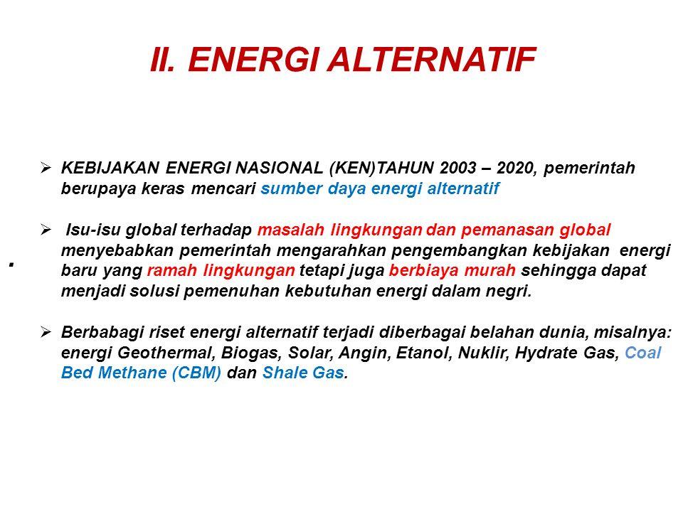 II. ENERGI ALTERNATIF.  KEBIJAKAN ENERGI NASIONAL (KEN)TAHUN 2003 – 2020, pemerintah berupaya keras mencari sumber daya energi alternatif  Isu-isu g