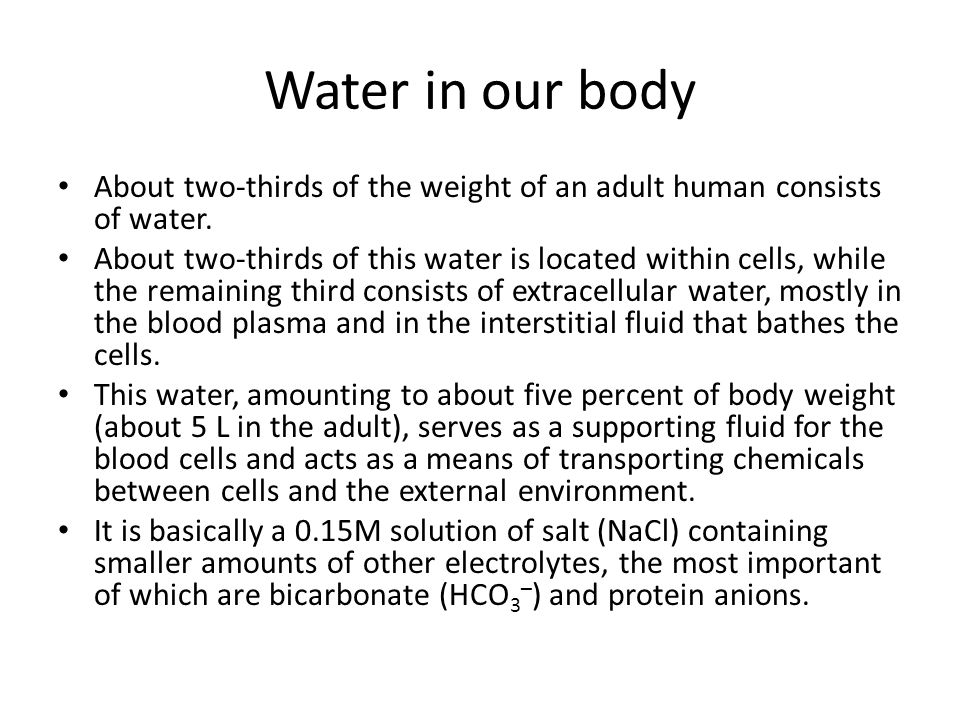 Water in our body About two-thirds of the weight of an adult human consists of water. About two-thirds of this water is located within cells, while th