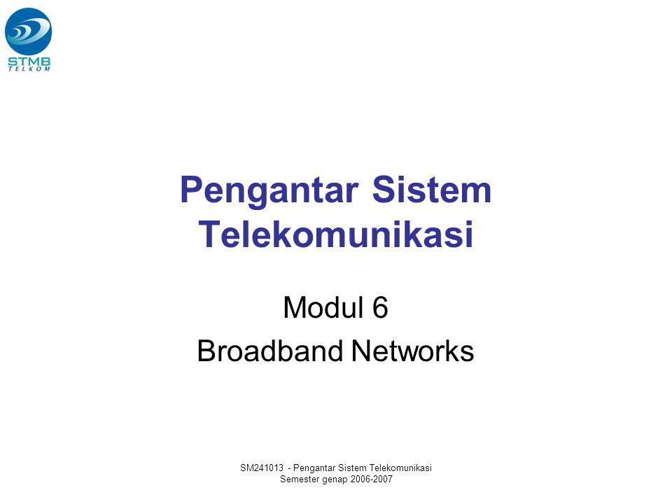 SM241013 - Pengantar Sistem Telekomunikasi Semester genap 2006-2007 Pengantar Sistem Telekomunikasi Modul 6 Broadband Networks