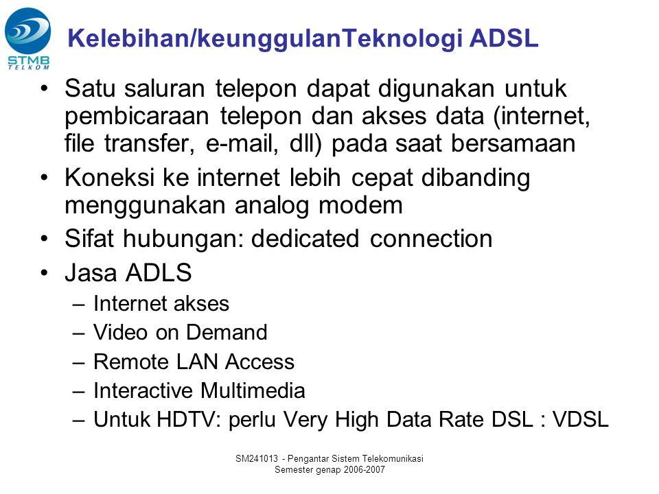 SM241013 - Pengantar Sistem Telekomunikasi Semester genap 2006-2007 Kelebihan/keunggulanTeknologi ADSL Satu saluran telepon dapat digunakan untuk pembicaraan telepon dan akses data (internet, file transfer, e-mail, dll) pada saat bersamaan Koneksi ke internet lebih cepat dibanding menggunakan analog modem Sifat hubungan: dedicated connection Jasa ADLS –Internet akses –Video on Demand –Remote LAN Access –Interactive Multimedia –Untuk HDTV: perlu Very High Data Rate DSL : VDSL