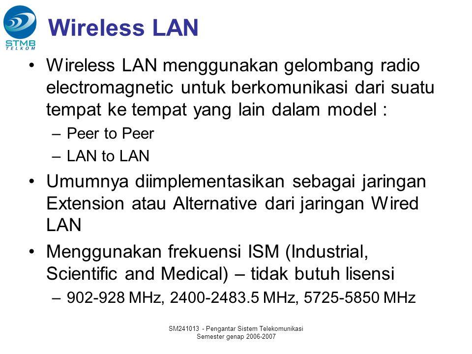 SM241013 - Pengantar Sistem Telekomunikasi Semester genap 2006-2007 Wireless LAN Wireless LAN menggunakan gelombang radio electromagnetic untuk berkomunikasi dari suatu tempat ke tempat yang lain dalam model : –Peer to Peer –LAN to LAN Umumnya diimplementasikan sebagai jaringan Extension atau Alternative dari jaringan Wired LAN Menggunakan frekuensi ISM (Industrial, Scientific and Medical) – tidak butuh lisensi –902-928 MHz, 2400-2483.5 MHz, 5725-5850 MHz