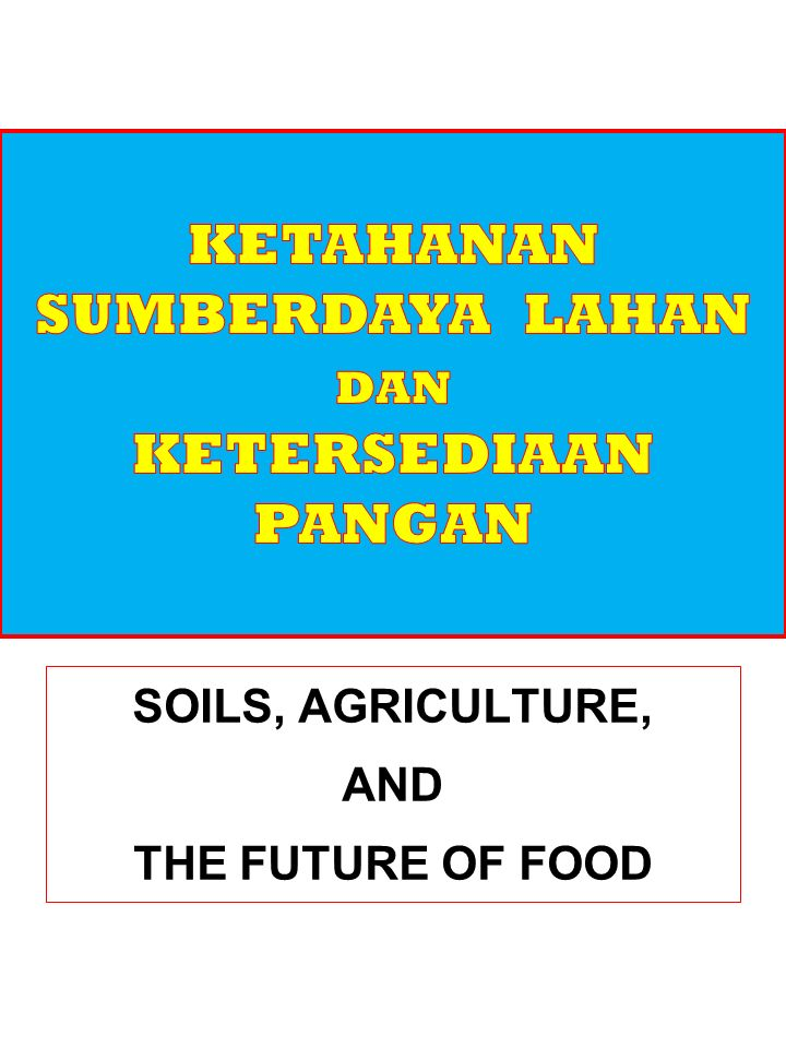 Croplands Help maintain water flow and soil infiltration Provide partial erosion protection Can build soil organic matter Store atmospheric carbon Provide wildlife habitat for some species Ecological ServicesEconomic Services Food crops Fiber crops Crop genetic resources Jobs KAPITAL ALAM Lahan Pertanian Jasa EKologi Jasa Ekonomi Help maintain water flow and soil infiltration Provide partial erosion protection Can build soil organic matter Store atmospheric carbon Provide wildlife habitat for some species Food crops Fiber crops Crop genetic resources Jobs Diunduh dari: www.instruction.greenriver.edu/.../BW_EssentialCh06Lecture.ppt …… 20/12/2012