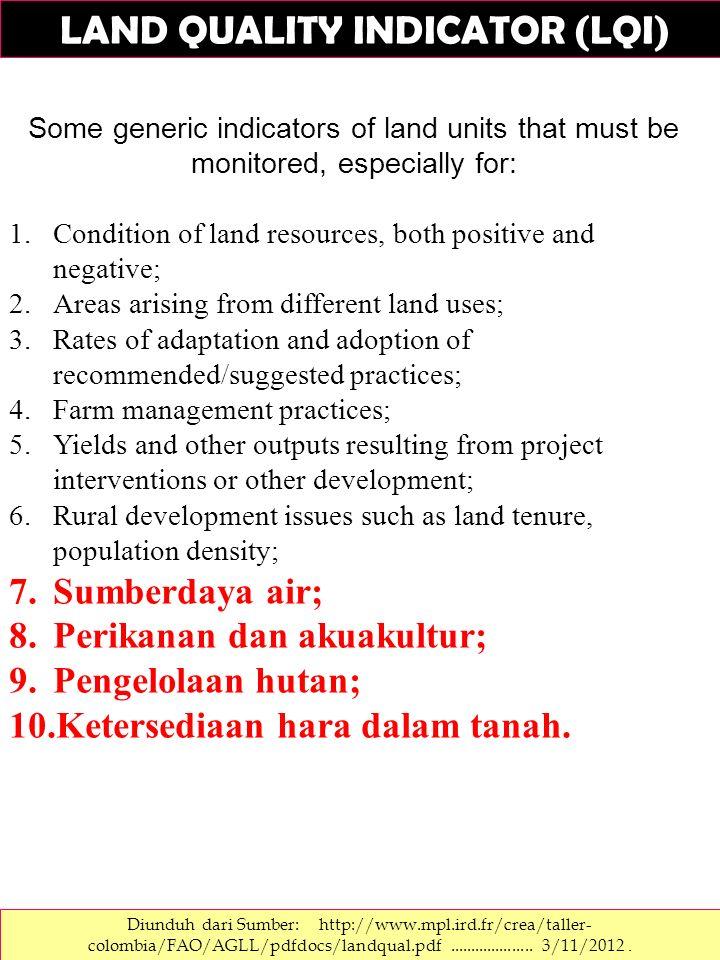 LAND QUALITY INDICATOR (LQI) Diunduh dari Sumber: http://www.mpl.ird.fr/crea/taller- colombia/FAO/AGLL/pdfdocs/landqual.pdf.................... 3/11/2