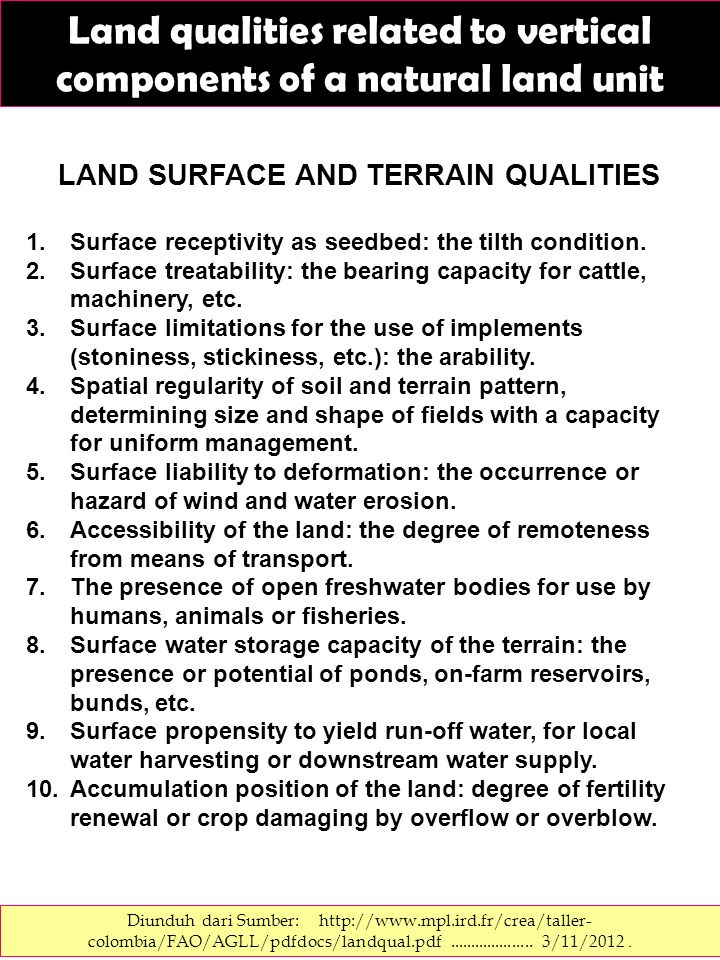 Land qualities related to vertical components of a natural land unit Diunduh dari Sumber: http://www.mpl.ird.fr/crea/taller- colombia/FAO/AGLL/pdfdocs