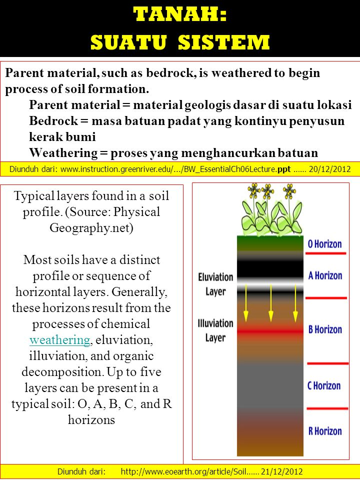 TANAH: SUATU SISTEM Parent material, such as bedrock, is weathered to begin process of soil formation. Parent material = material geologis dasar di su